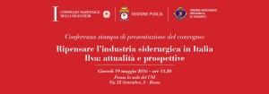 Conferenza stampa presentazione Convegno ILVA 19 maggio 2016
