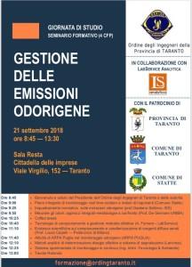 Il seminario sulle Emissioni Odorigene previsto per il 21 settembre 2018, alle 8.45 alla Cittadella delle Imprese